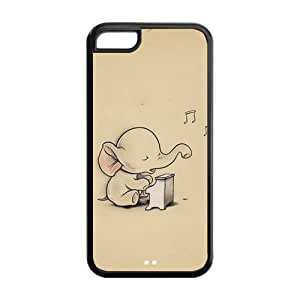 5C Phone Cases, Cute Vintage Baby Elephant Hard TPU Rubber Cover Case for iPhone 5C