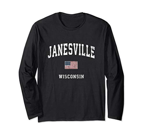 Janesville Wisconsin WI Vintage American Flag Sports Design Long Sleeve T-Shirt