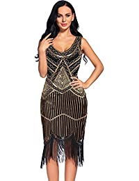 Womens Vintage 1920s Sequin Beaded Tassels Hem Flapper Dress