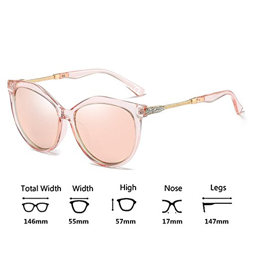 UV400 Transparent De Lens Mujeres Polarizadas Sol Frame VeBrellen Pink Gafas Protect para Moda Oversized qnOWS8v