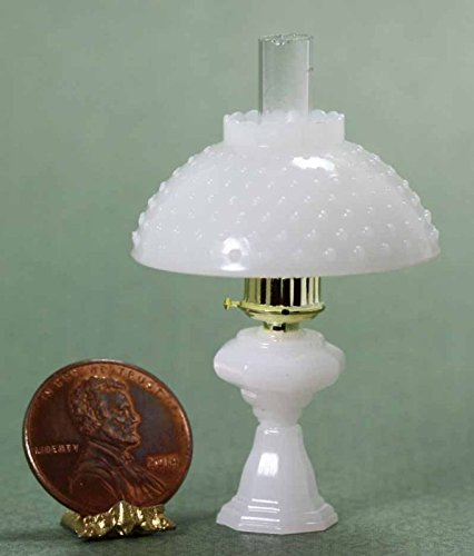 Depression Hobnail - Dollhouse Miniature Non-Working Oil Lamp w/Hobnail Shade in Milky White