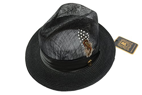 Men's New Bruno Capelo Black Sinamay and Poly Braid Fedora SP-100 (S, (New Braid Fedora)