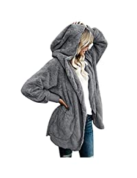 RIBITENS Women Casual Plush Long Sleeve Hooded Cardigan Solid Loose Open Stitch Coat with Pockets