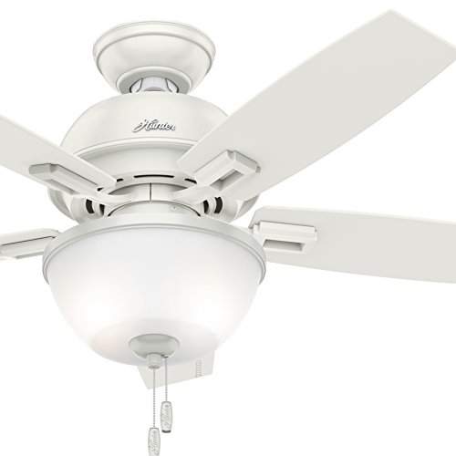 Hunter Fan 44 inch Ceiling Fan in Onyx Bengal with LED Bowl Light Kit Renewed Fresh White