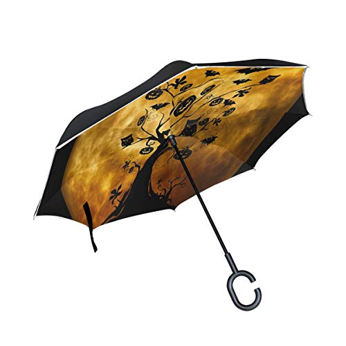 Reverse Umbrella Halloween Tree Owl Windproof Anti-UV for Car Outdoor -