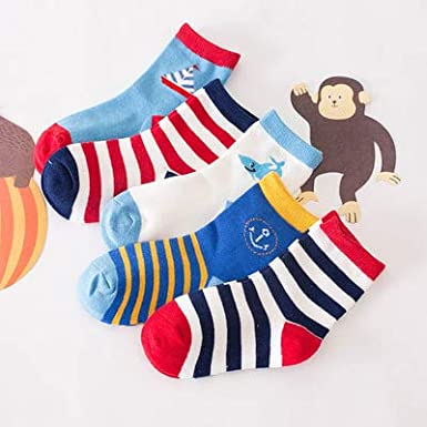 E-Papaya Kids Baby Boys Girls Comfort Cotton Crew Sock,5 Packs,Different colors