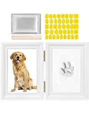 SlowTon Pet Pawprint Keepsake Kit, Picture Frame with Clay Imprint Kit, Personalized Gift for Dogs Pet Lovers (Small, White)