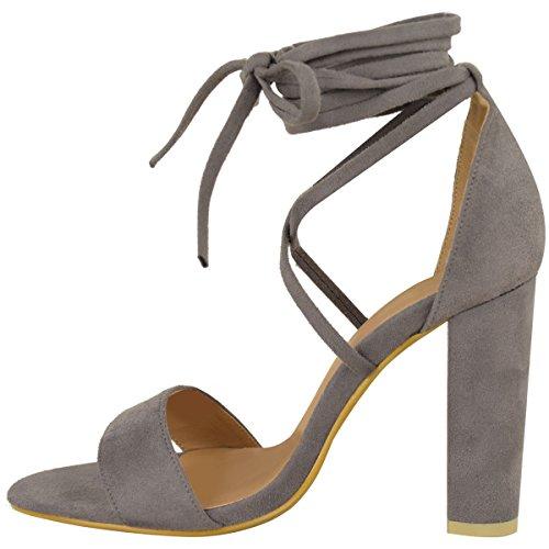 Moda Donna Assetata Pizzo Tie Up Avvolgere La Caviglia Sandali Tacco Alto Scarpe Grandi Dimensioni Grigio Faux Suede