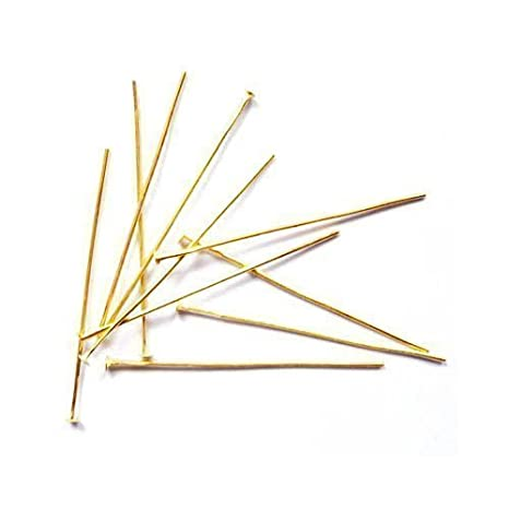 Golden Nickel-Free STRONG Plated Iron 0.7 x 40mm Head Pins HA02160 Charming Beads Pack Of 275