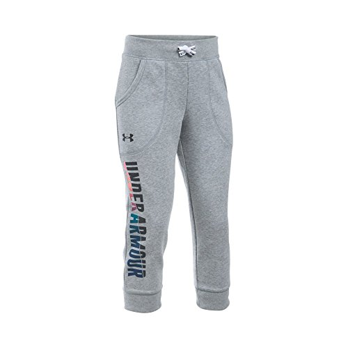 Under Armour Girls' Favorite Fleece Capri, True Gray Heather/Black, Youth Large