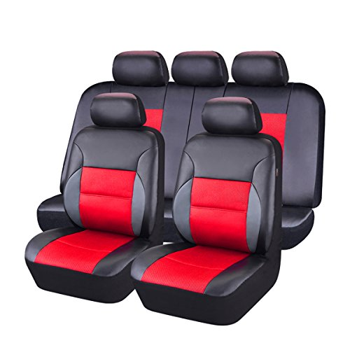 NEW ARRIVAL- CAR PASS 11PCS Luxurous Leather Universal Car Seat Covers Set,Universal fit for Vehicles,Cars,SUV,Airbag Compatible (Black And - Fx Seat Covers
