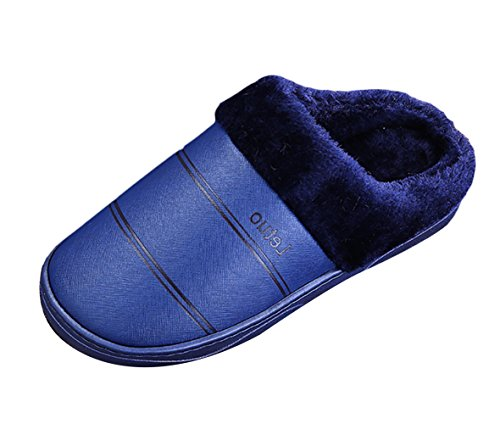 Insun Mens Fleece Winter Warm Slippers Home Outdoor Blue gxlt6