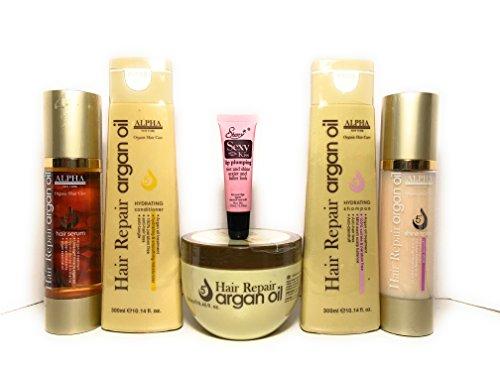 Alpha New York Organic Hair Repair Argan Oil Hydrating Shampoo 10.14oz, Conditioner 10.14oz, Mask 8.45oz, Shine Spray 3.38oz & Hair Serum 3.38oz -Free Starry Lip Plumping Gloss 10ml