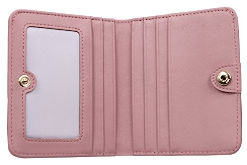 Women's Small Compact Bi-fold Leather Pocket Wallet Credit Card Holder Case with ID Card Window (New Pink) by ARRIZO (Image #2)