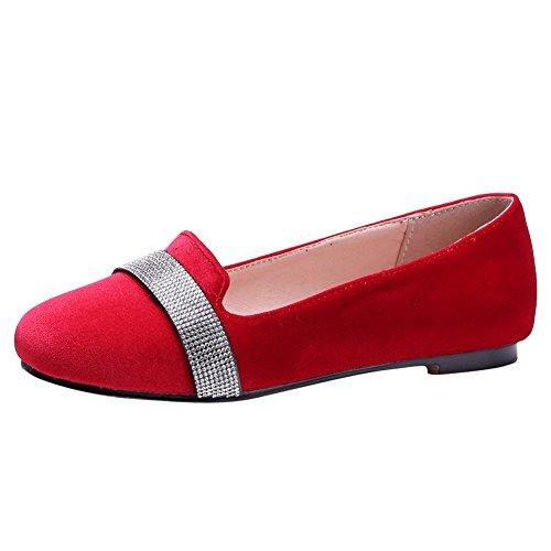 Mee Shoes Damen bequem flach Suede Pumps Rot