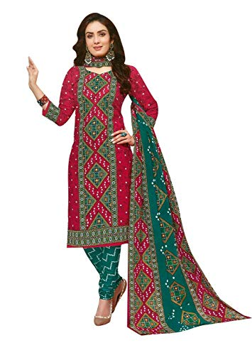 Ladyline Readymade Bandhej Printed Pure Cotton Salwar Kameez Dress Indian (Size_36/ Dark Pink)