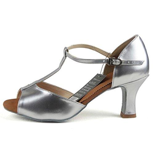 Dance 39 altri Latino Salsa Ragazza Superiore Donne Colori Sandali Satin Professionista Della Med Delle Shoe silver Scarpe Ballroom P1x6pn