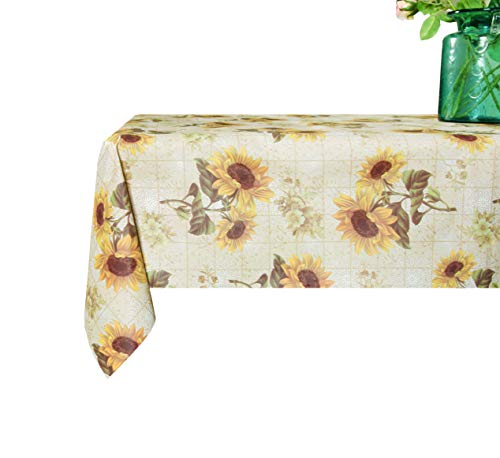 Lavin PVC Tablecloth/Table Covers,Waterproof Satin Resistant Wipe Clean Heavy Duty for Kitchen and Parties, 54x78 Inch, 137x198 Centimeter (Sunflower)