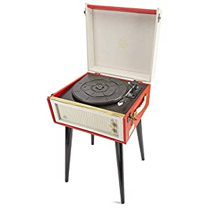 GPO Bermuda Record Player with Removable Legs Classic Retro-Style Vinyl Turntable with MP3, USB, Built-In Speaker -Red