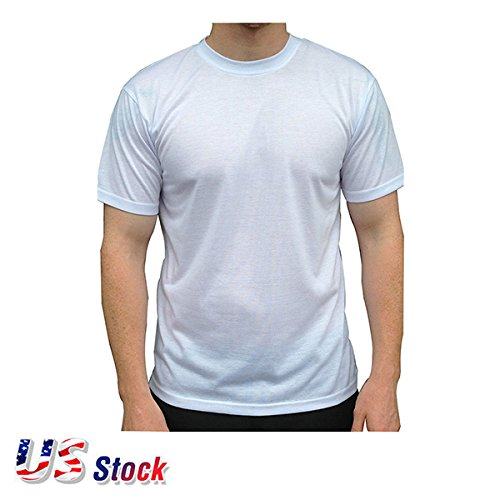 US Stock-Plain White Sublimation Blank Polyester T-Shirt for Men 30pcs Size M / L / XL(Each Size 10pcs) by Ving