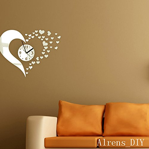 Alrens_DIY(TM)Silver Hearts Art Mordern Luxury Design DIY Removable Acrylic Silent Quartz Clock Watch 3D Crystal Mirror Surface Effective Wall Clock Wall Sticker Home Decor Art Living Room Bedroom Office Decoration by Alrens (Image #2)
