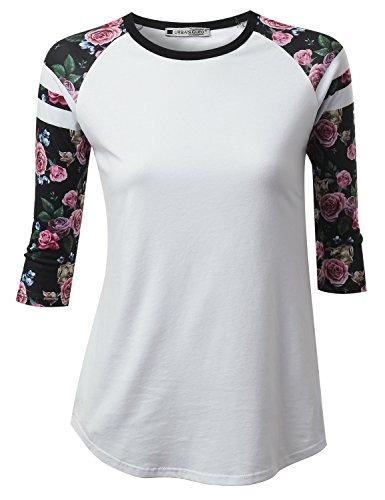 URBANCLEO Womens Pink Stripe 3/4 Sleeve Raglan Baseball Tee Shirt WHITE, (Stripe Raglan Tee)