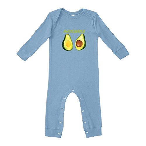 Cute Rascals Avocado Avocuddle Cuddle Cotton Long Sleeve Envelope Neck Unisex Baby Legged Long Rib Coverall Bodysuit - Light Blue, 24 ()