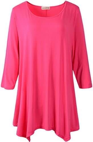 LARACE Women Plus Size 3/4 Sleeve Tunic Tops Loose Basic Shirt(1X, Rosepink)