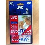 JVC DVD-RW, 1.4Go, 8cm, 30min, Pack de 5+1 dans boitier crystal, mini dvd, dvdrw