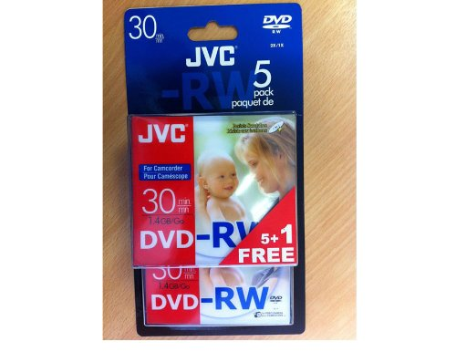 JVC DVD-RW 1.4Gb 8cm 30min Pack 5+1 in jewel case camcorder mini dvd dvdrw
