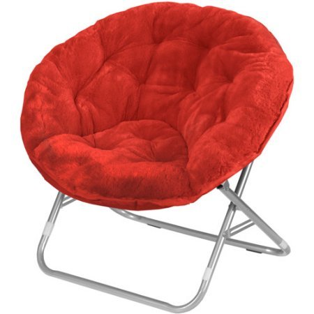 (Moon Saucer Chairs for Kids Teens Adults Faux Fur Folding Padded Portable Gaming Chair Bundle Includes 2 in 1 Stylus Pen from Designer Home (Red))