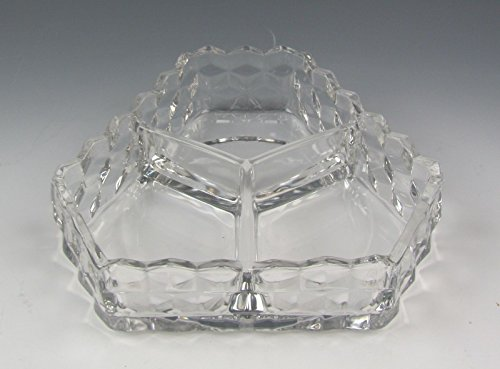 Fostoria Glassware AMERICAN-CLEAR 3 Part Candy Dish No Lid EXCELLENT