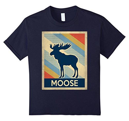 Kids Vintage style moose tshirt 8 Navy (Girls Moose)