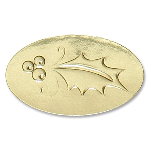 Holly Gold Foil Holiday Seals, 1 1/2 Inch, Self Adhesive, 30 Count ()