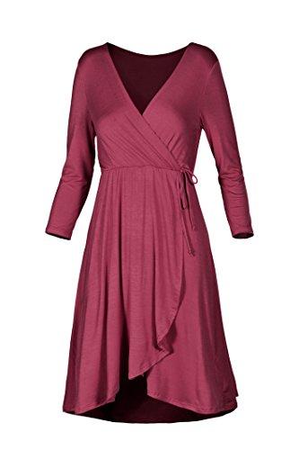 Burgundy V 3 Wrap Neck Sleeve Women's Dress Beachcoco 4 g85qtw