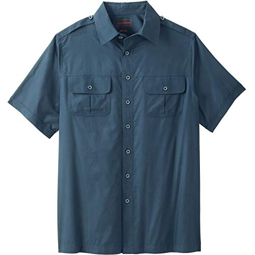 - Boulder Creek Men's Big & Tall Short Sleeve Pilot Shirt, Blue Indigo Big-XL