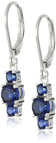 Sterling-Silver-Genuine-and-Lab-Created-Gemstone-Three-Stone-Leverback-Dangle-Earrings