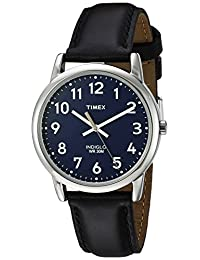 Timex Men's 'Easy Reader' Quartz Brass and Leather Casual Watch, Color:Black (Model: TW2R302009J)