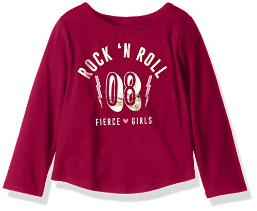 - Crazy 8 Girls' Big Long Sleeve Graphic Tee, Rock/Roll red, S