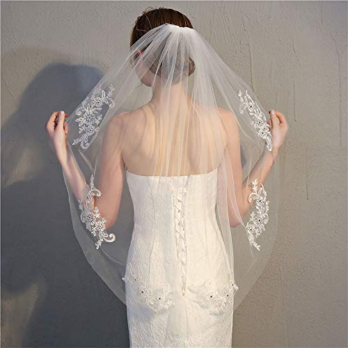 PT Bride's Long Veil and Comb, Wedding Veil Accessories Church lace Long Tulle Hair Accessories White