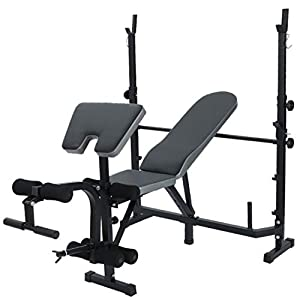Multifunctional Workout Station Adjustable Olympic Workout Bench with Squat Rack, Leg Extension, Preacher Curl, and Crunch Handle