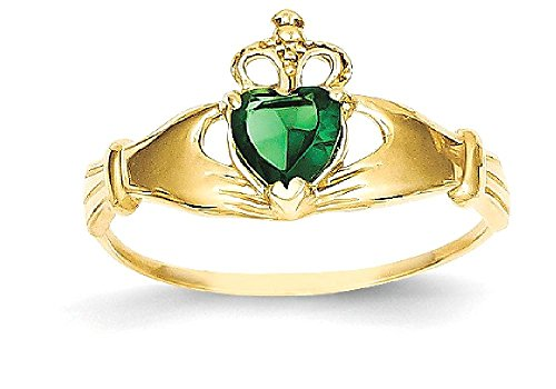 ICE CARATS 14k Yellow Gold Green Cubic Zirconia Cz Irish Claddagh Celtic Knot Band Ring Size 7.00 Fine Jewelry Gift Set For Women Heart