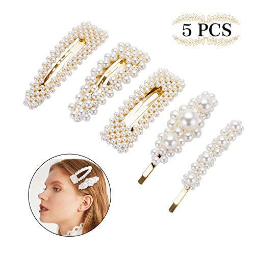 Pearl Hair Clips for Women Girls - 5pcs Fashion Clips/Ties for Birthday Valentines Day Gifts Bling Hairpins Headwear Barrette Styling Tools Accessories Wedding Hair Clips Set for Ladies Girls Kids