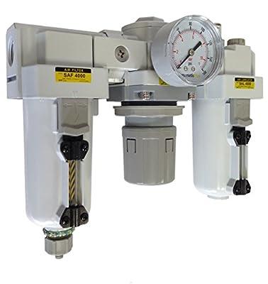 "PneumaticPlus SAU4000M-N06DG-MEP Three-Unit Combo Compressed Air Filter Regulator Lubricator FRL Air Preparation Unit 3/4"" NPT - Auto Drain, Metal Bowl, 10 Micron with Gauge"