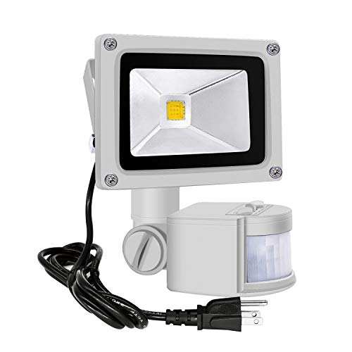 Motion Sensor Flood Lights Outdoor,10W Induction LED Lamp, IP65 Waterproof Spotlight,3200K LED Sensor Light,Security Light with US 3-Plug (Warm White-Gray)