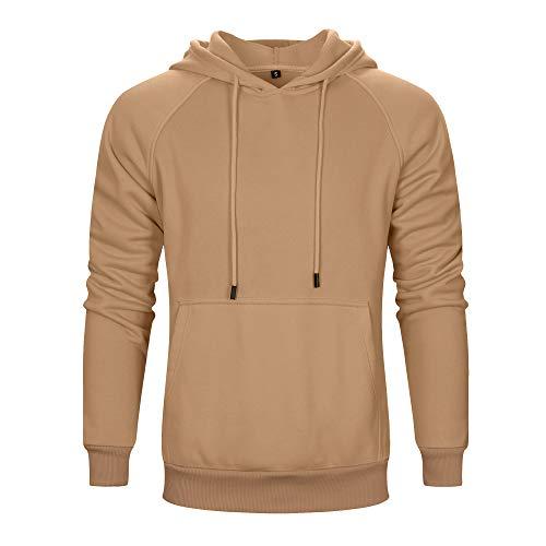 TOLOER Men's Hoodies Pullover Slim Fit Solid Color Sports Outwear Sweatshirts Khaki Medium