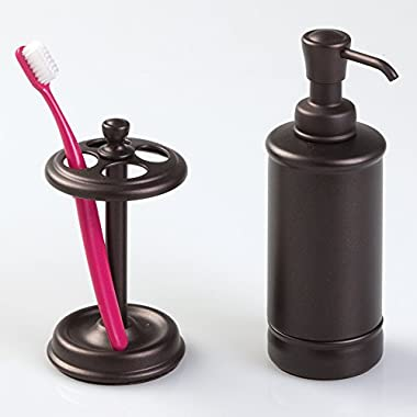 mDesign Metal Soap or Lotion Dispenser Pump and Toothbrush Holder Stand, 2 pc Bathroom Accessory Set - Bronze Finish