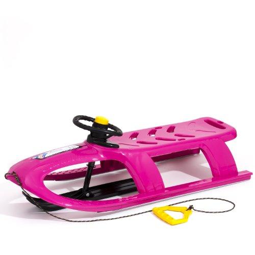 Lenkschlitten Kinderschlitten Rodel Metallaufschienen Zugseil Direktlenkung rosa