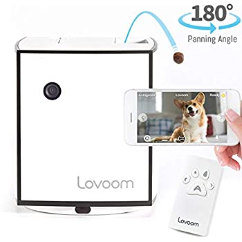 Image of Lovoom Pet Monitoring Camera with Treat Dispenser, Control the direction and distance of treat launch,Autoplay,HD Wi-Fi video, Camera rotation up to 270°, 2-Way Audio, Remote control for Dogs and Cats Pet Supplies