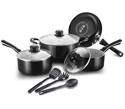 (COOKER KING Ceramic Pots and Pans Set, Scratch Resistant, Toxin-Free, Dishwasher Safe, Oven Safe, Healthy Ceramic Nonstick Cookware Set, 10-Piece)